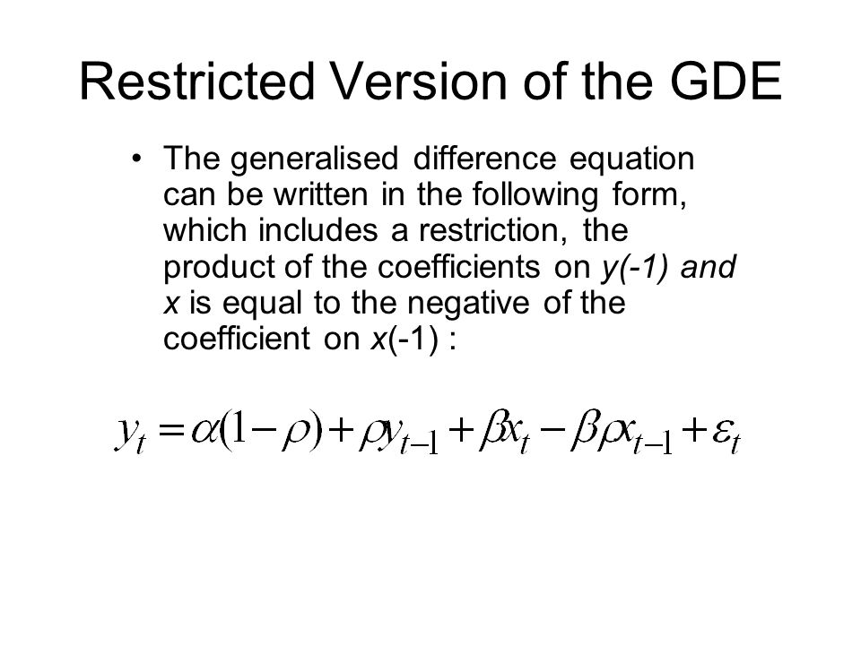 Restricted Version of the GDE