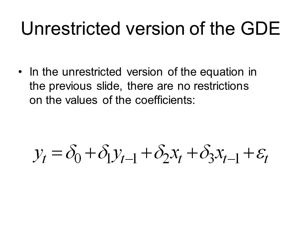 Unrestricted version of the GDE