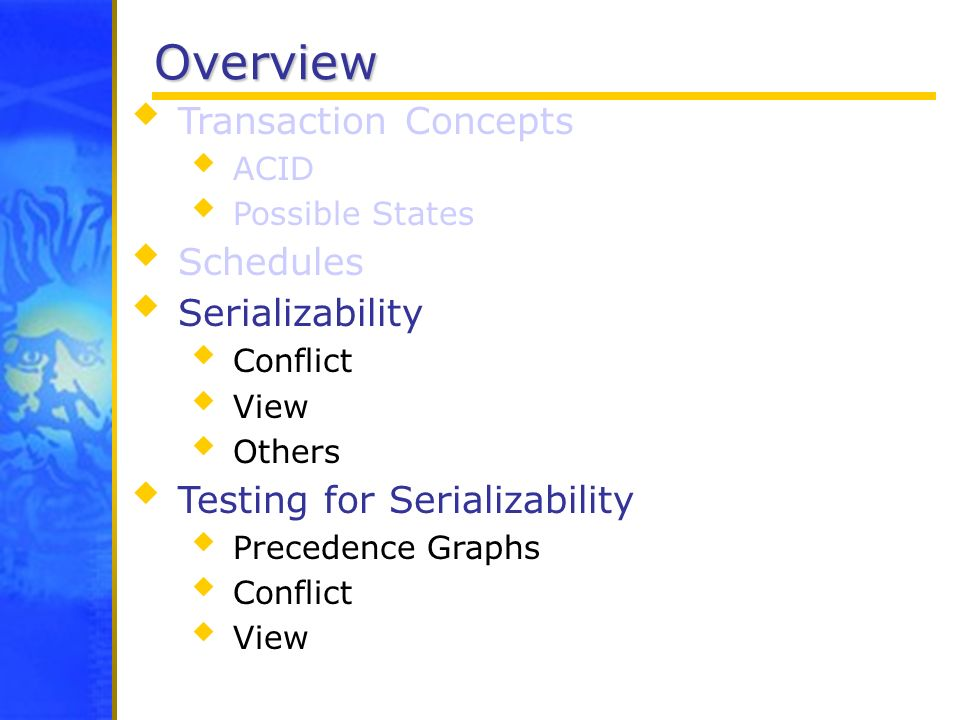 Overview Transaction Concepts Schedules Serializability
