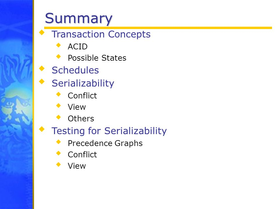 Summary Transaction Concepts Schedules Serializability
