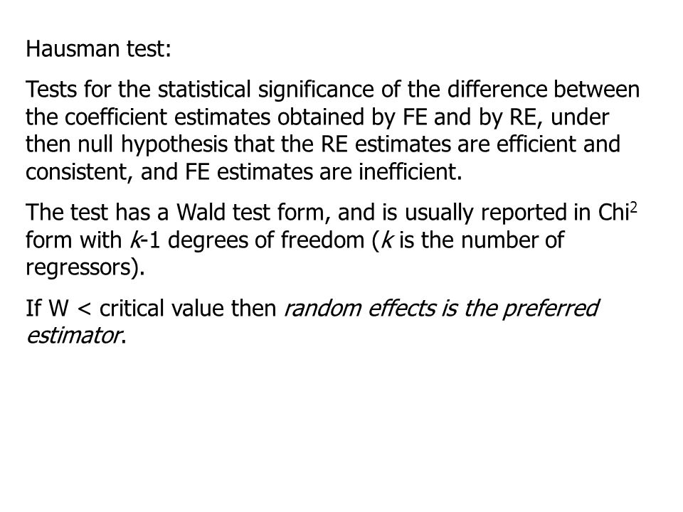 Hausman test: