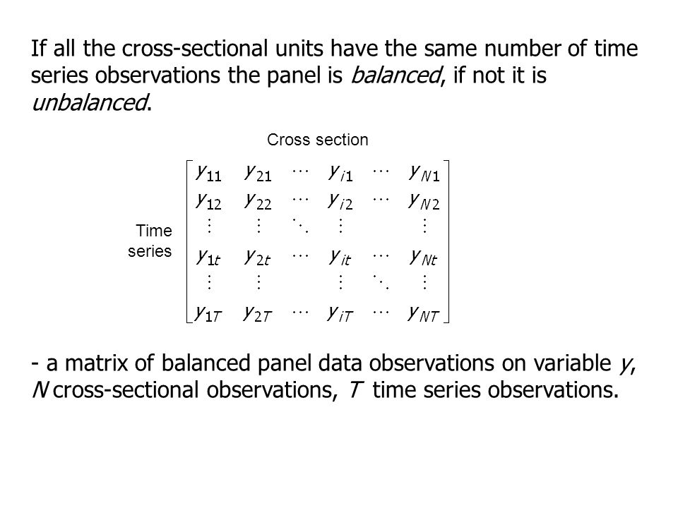 If all the cross-sectional units have the same number of time series observations the panel is balanced, if not it is unbalanced.