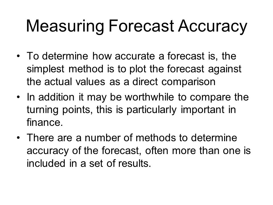 Measuring Forecast Accuracy
