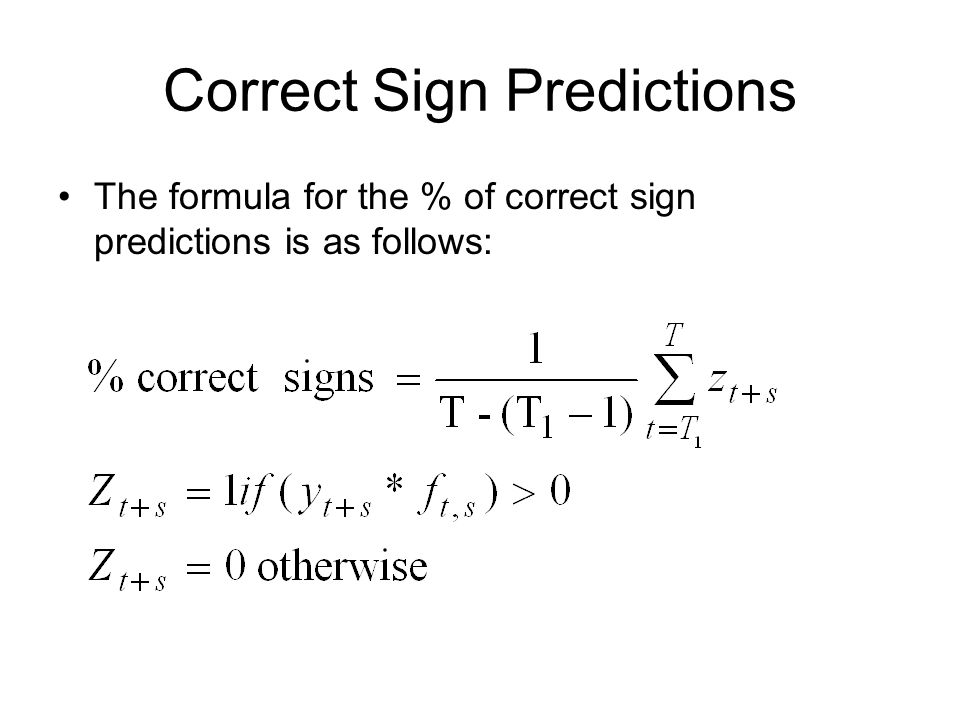 Correct Sign Predictions