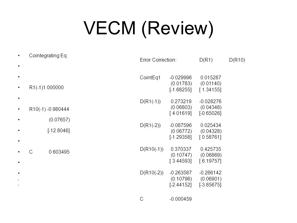 VECM (Review) Cointegrating Eq: Error Correction: D(R1) D(R10)