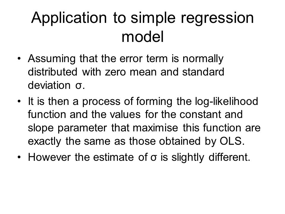 Application to simple regression model