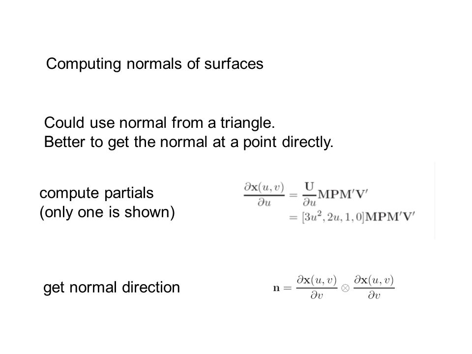 Computing normals of surfaces