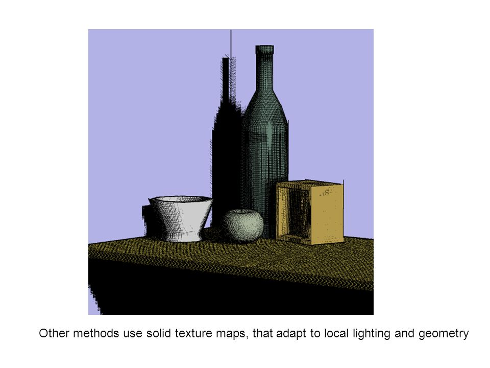 Other methods use solid texture maps, that adapt to local lighting and geometry