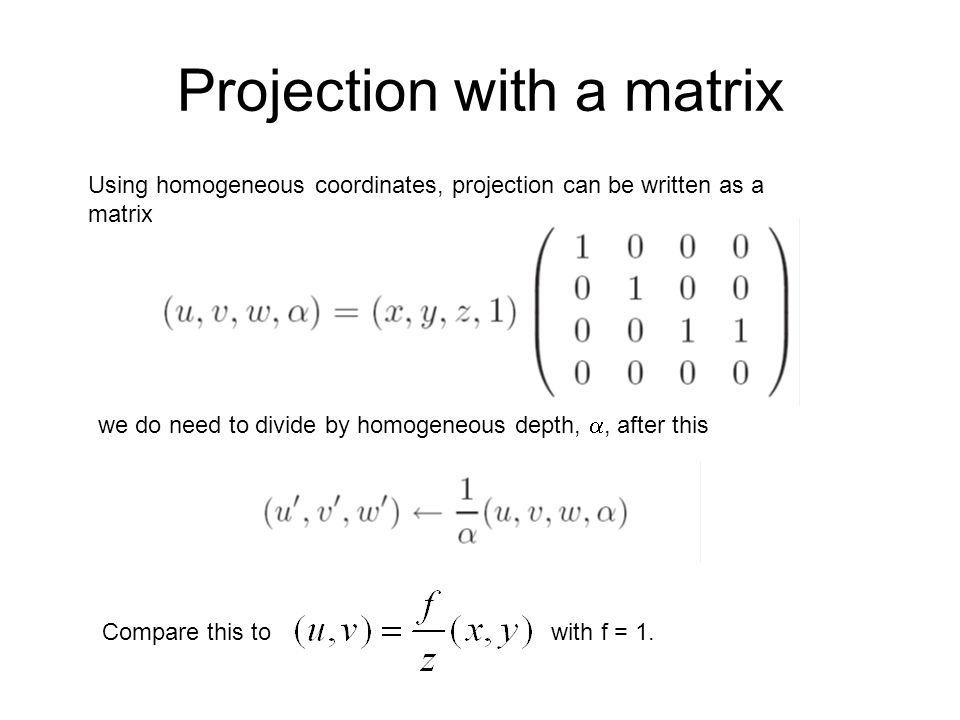 Projection with a matrix