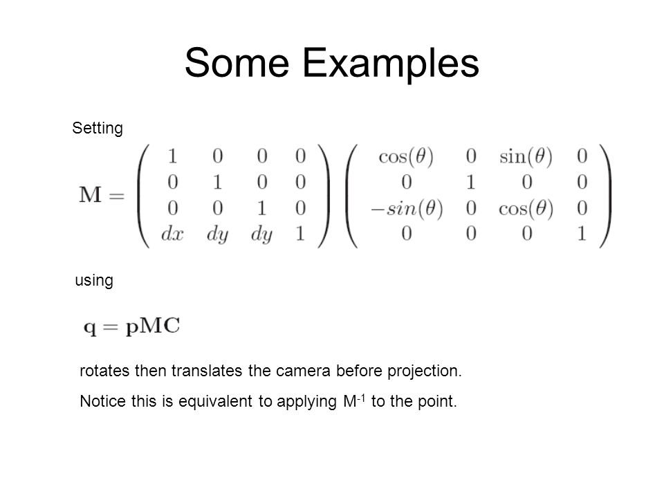 Some Examples Setting using