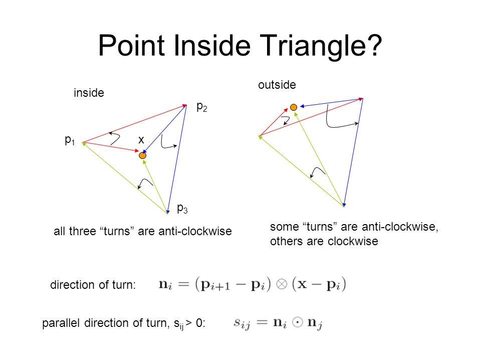 Point Inside Triangle outside inside p2 p1 x p3