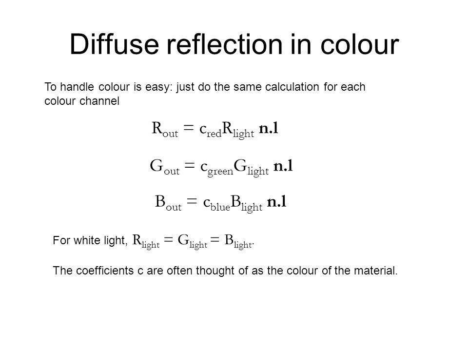 Diffuse reflection in colour