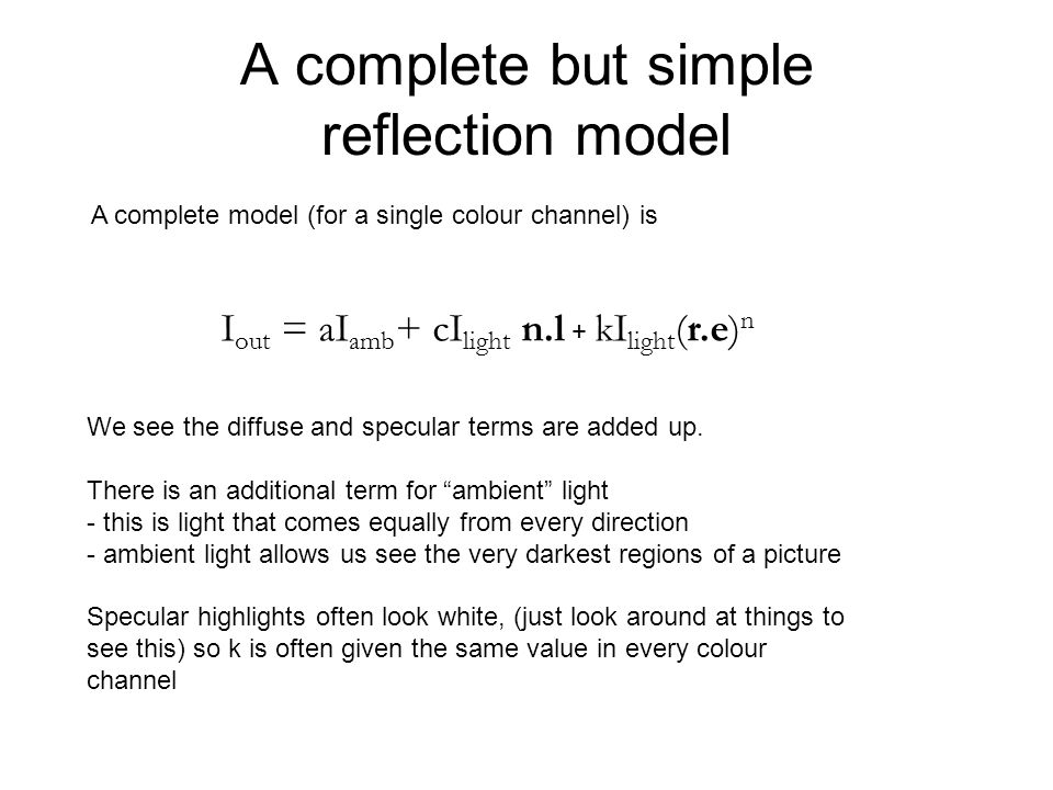 A complete but simple reflection model