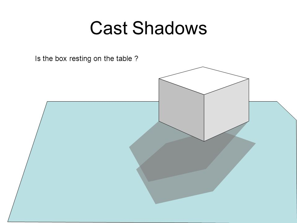 Cast Shadows Is the box resting on the table