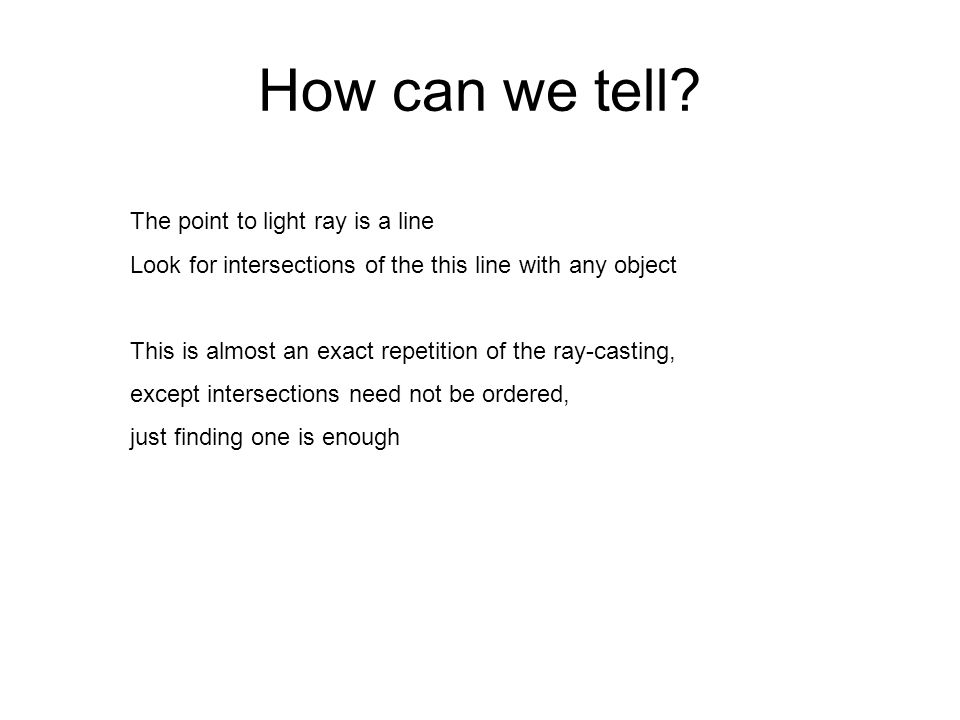 How can we tell The point to light ray is a line