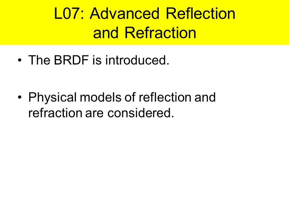 L07: Advanced Reflection and Refraction