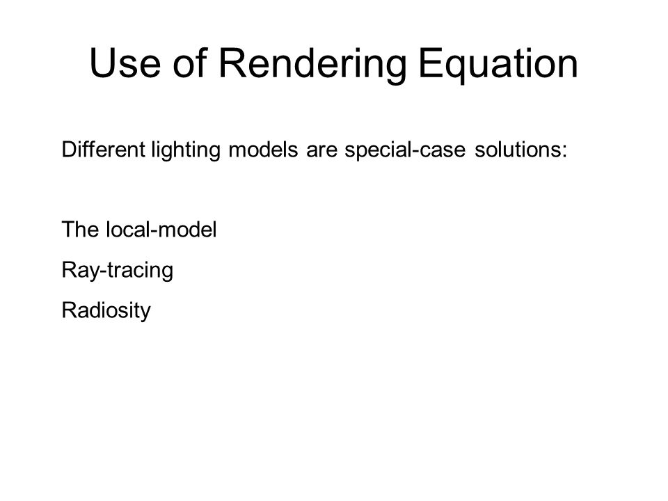 Use of Rendering Equation