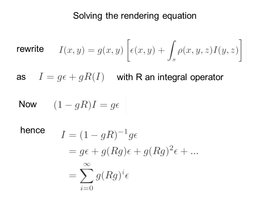 Solving the rendering equation