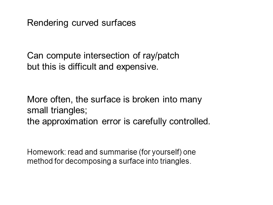 Rendering curved surfaces