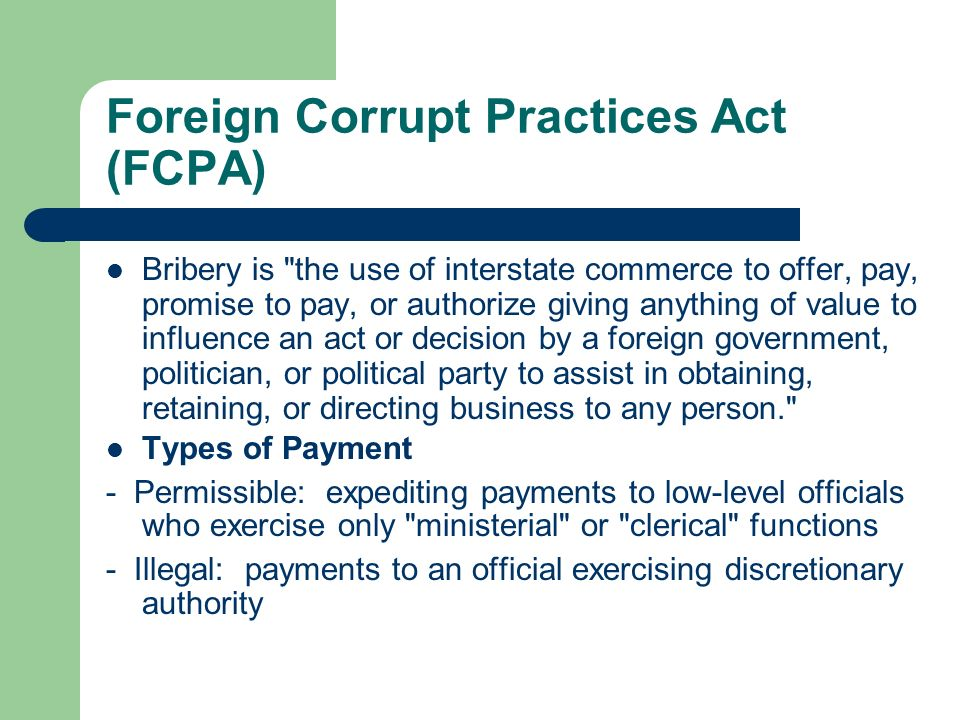 Foreign corrupt practices act