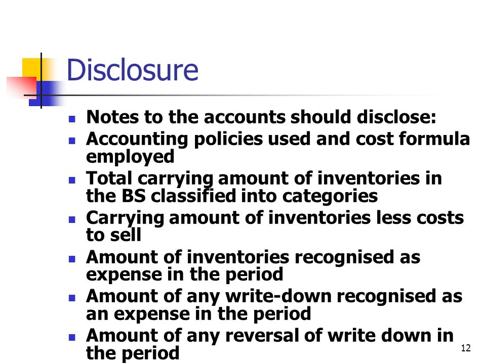 Disclosure Notes to the accounts should disclose: