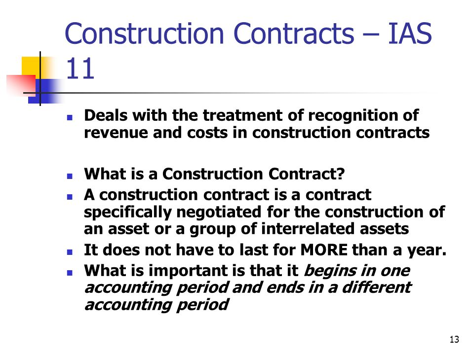 Construction Contracts – IAS 11