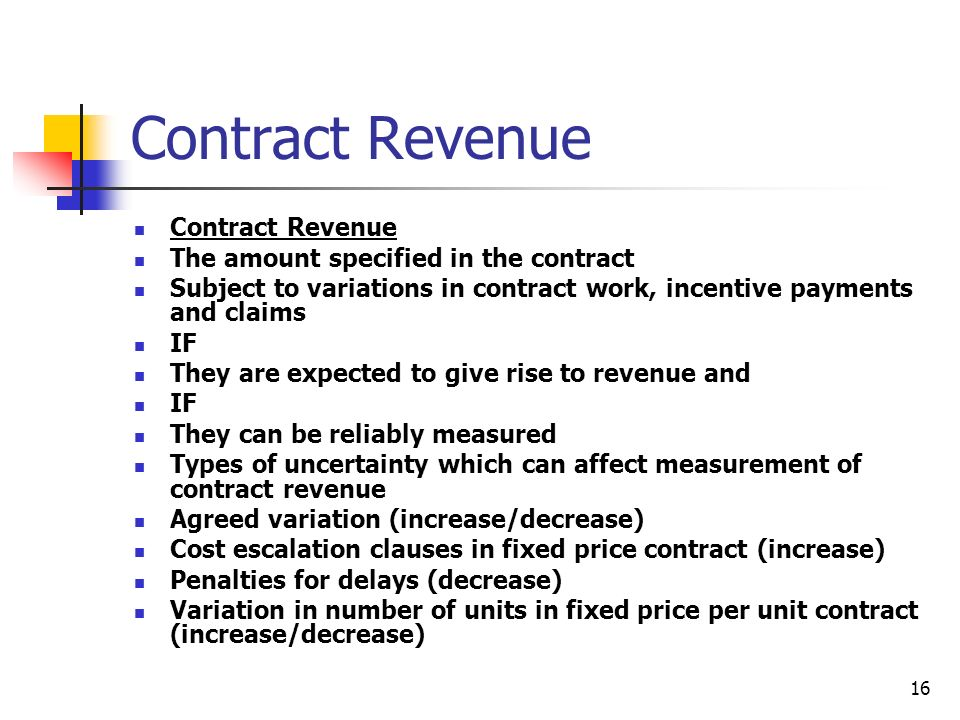 Contract Revenue Contract Revenue The amount specified in the contract