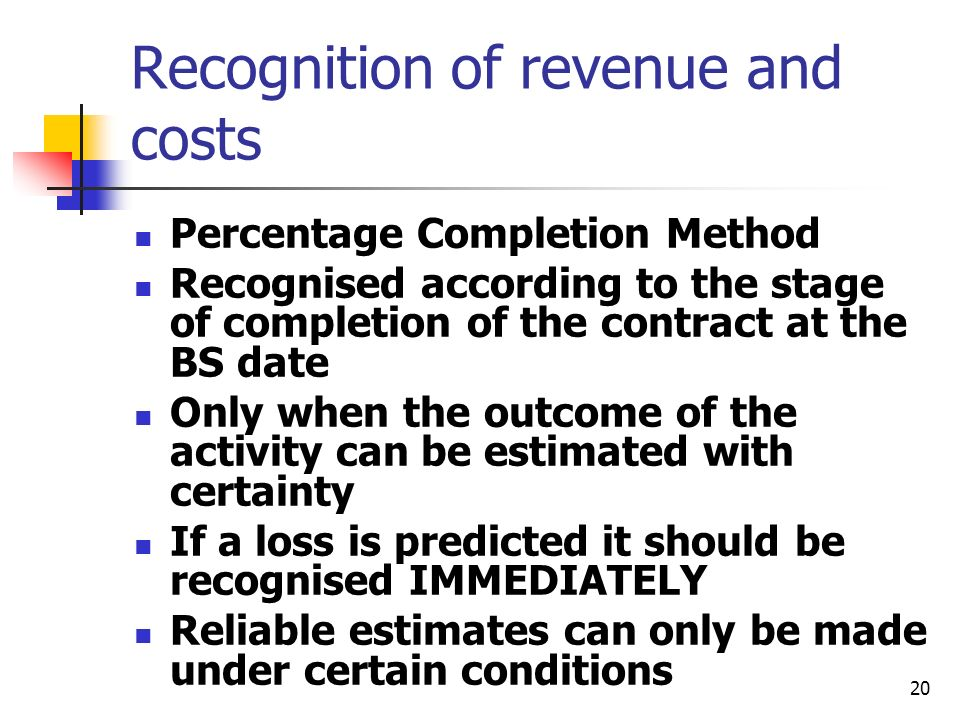 Recognition of revenue and costs