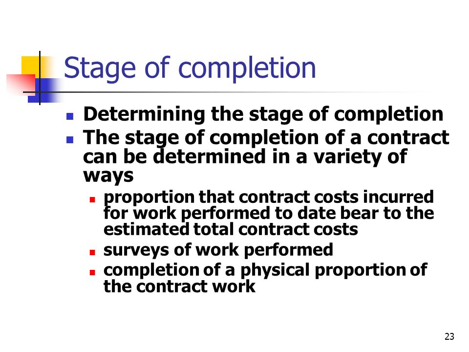 Stage of completion Determining the stage of completion