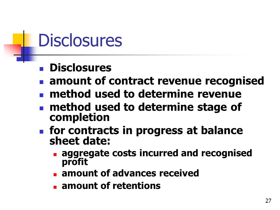 Disclosures Disclosures amount of contract revenue recognised