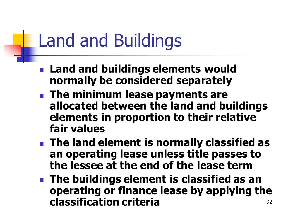 Land and Buildings Land and buildings elements would normally be considered separately.