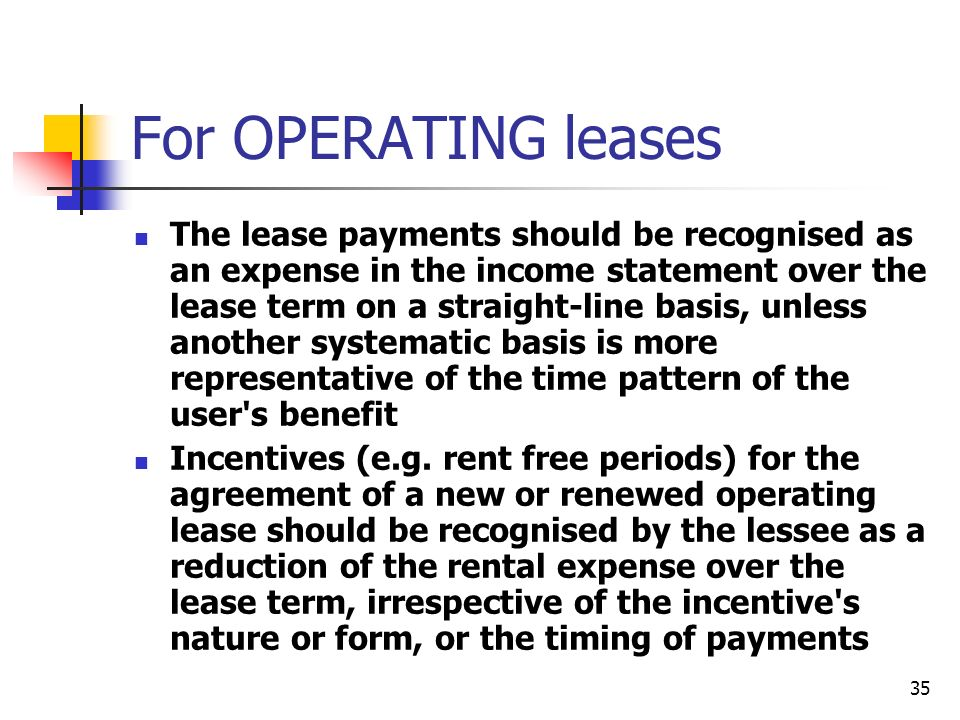 For OPERATING leases