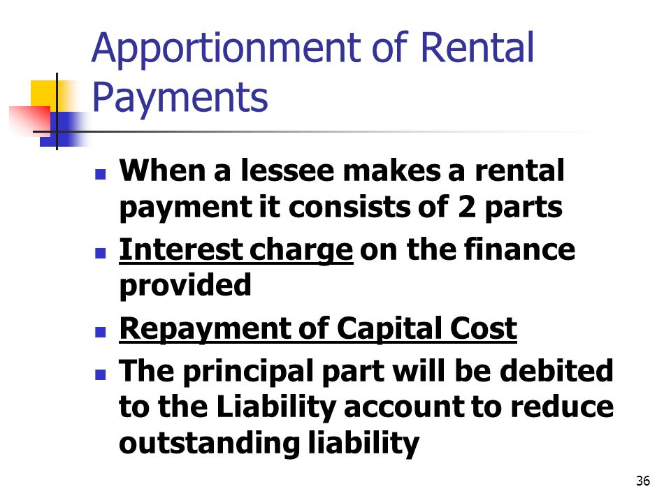 Apportionment of Rental Payments