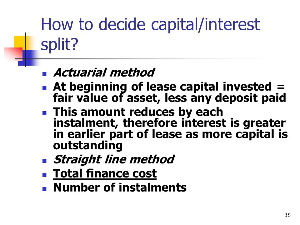 How to decide capital/interest split