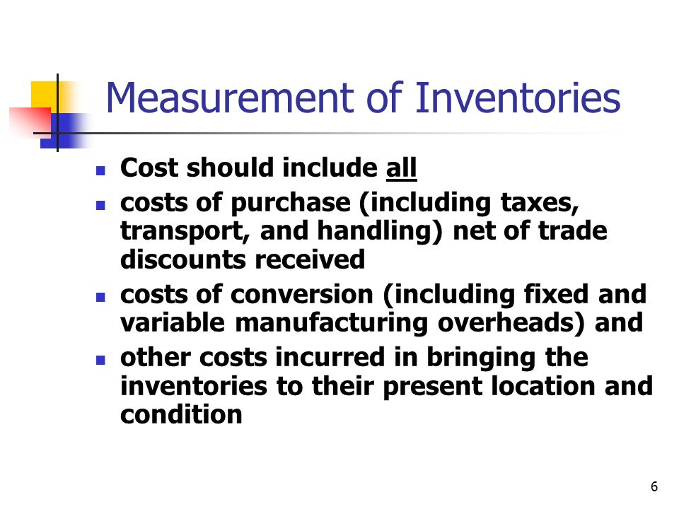 Measurement of Inventories