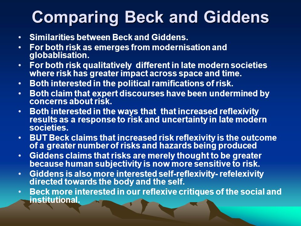 Comparing Beck and Giddens