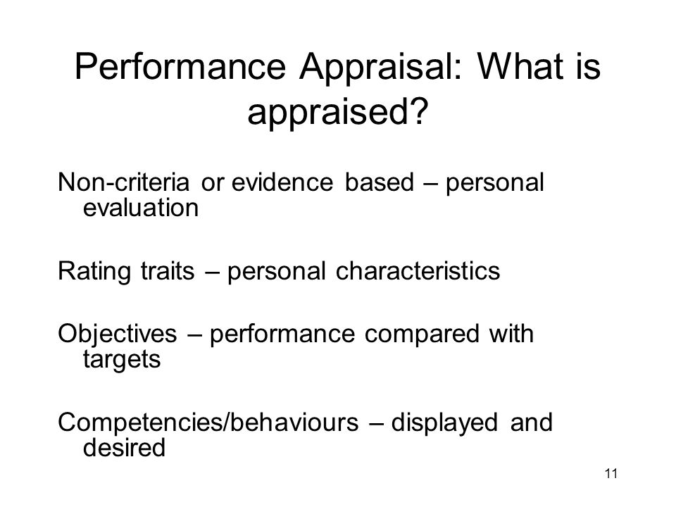 Performance Appraisal: What is appraised
