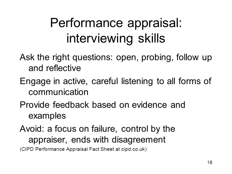 Performance appraisal: interviewing skills