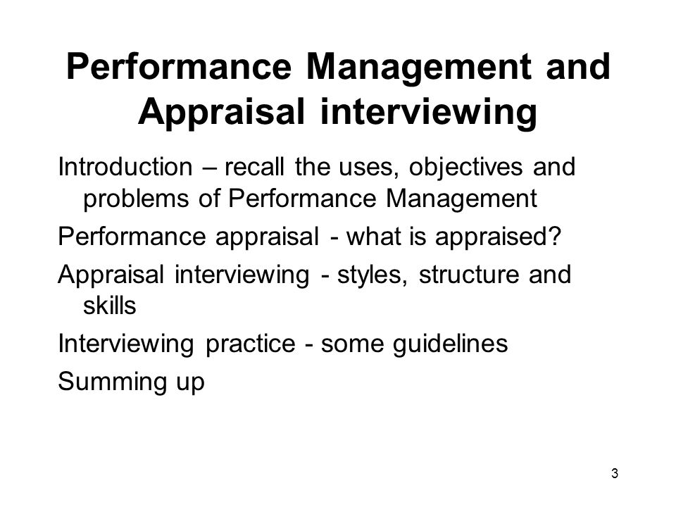 Performance Management and Appraisal interviewing