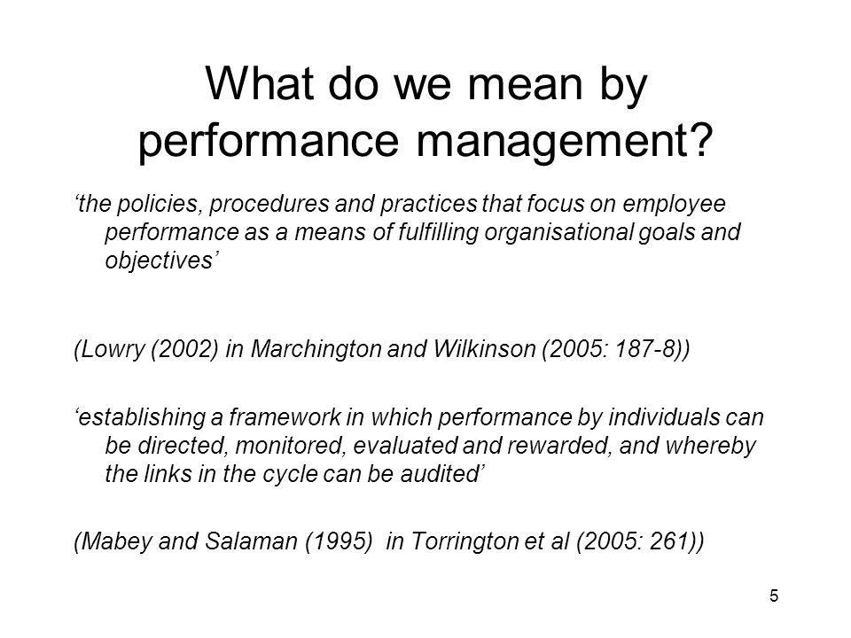 What do we mean by performance management