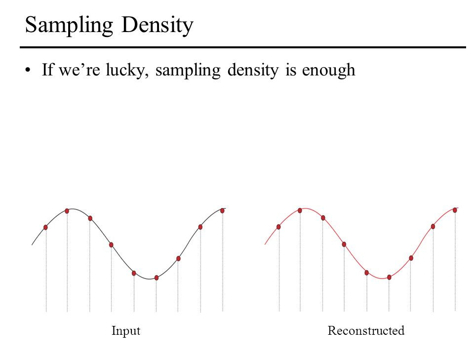 Sampling Density If we're lucky, sampling density is enough Input