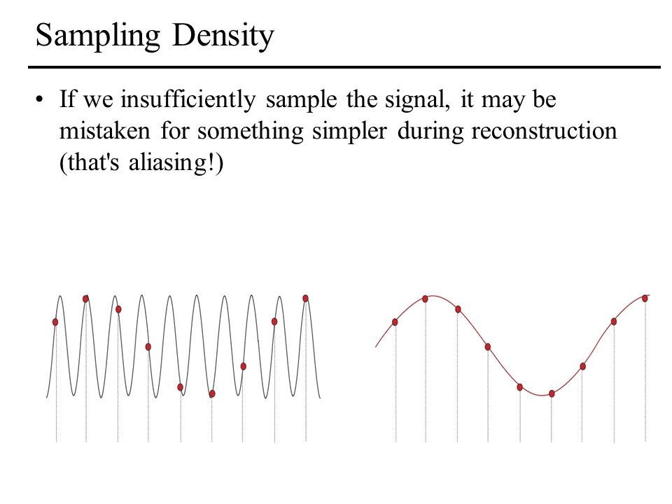 Sampling Density If we insufficiently sample the signal, it may be mistaken for something simpler during reconstruction (that s aliasing!)