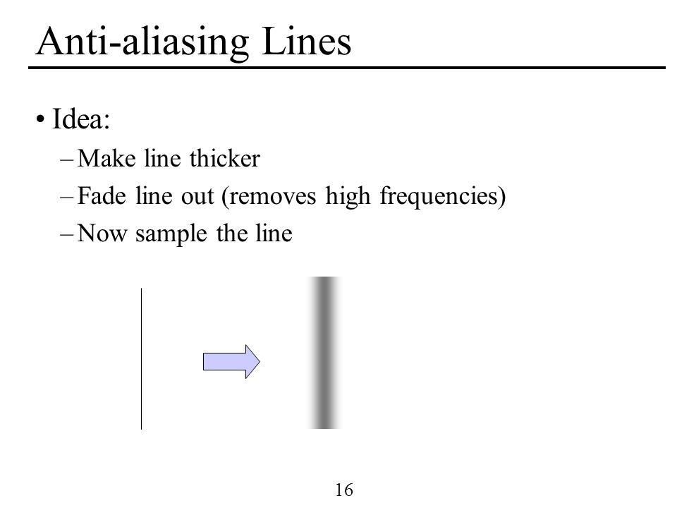 Anti-aliasing Lines Idea: Make line thicker