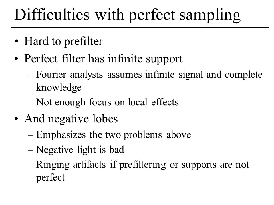 Difficulties with perfect sampling