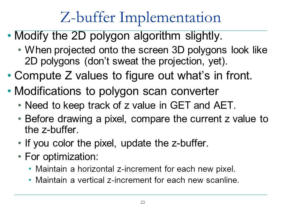 Z-buffer Implementation