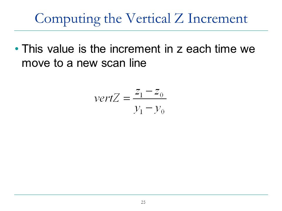 Computing the Vertical Z Increment