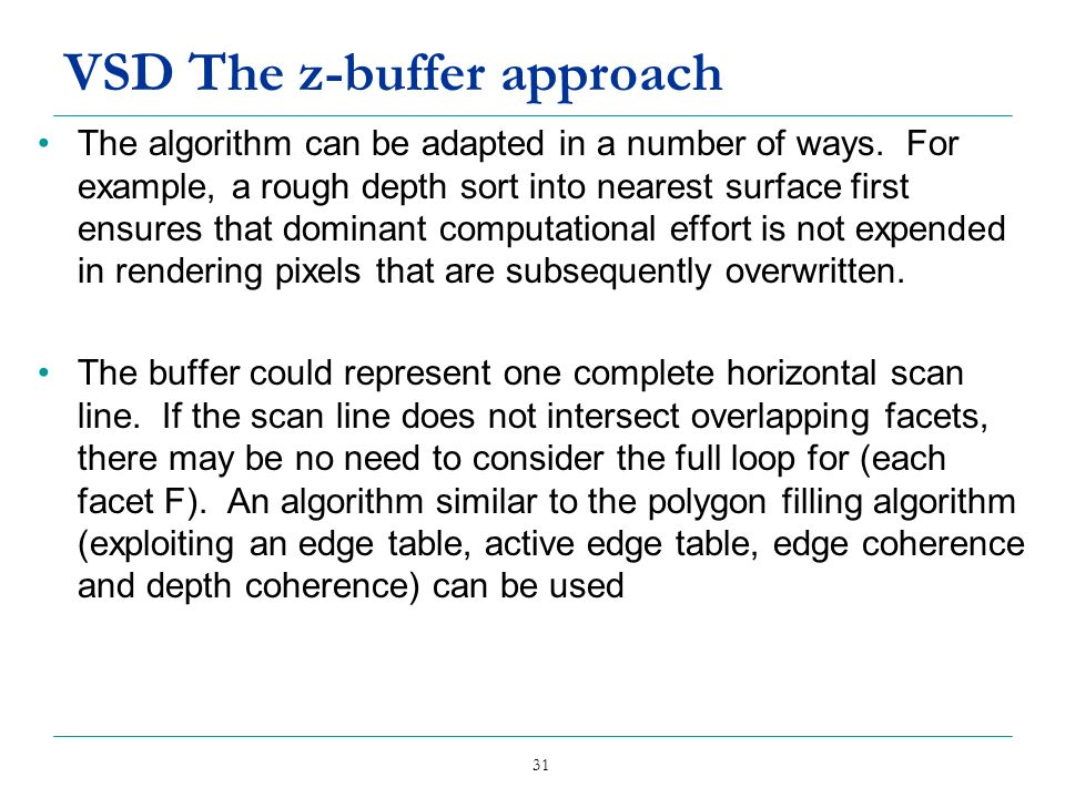 VSD The z-buffer approach