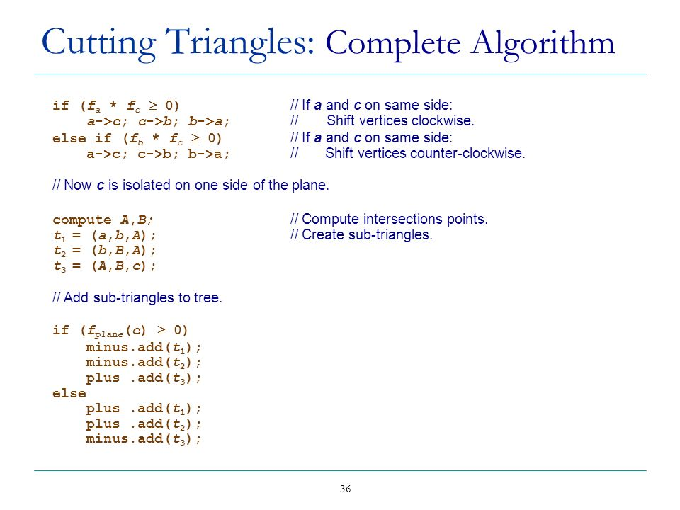 Cutting Triangles: Complete Algorithm