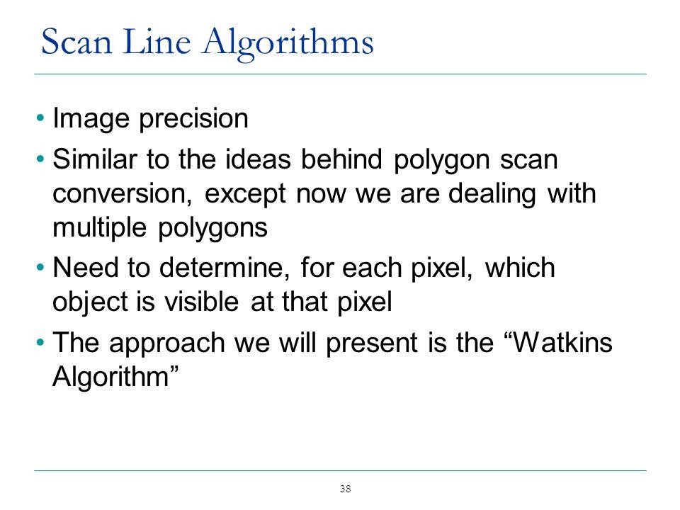 Scan Line Algorithms Image precision