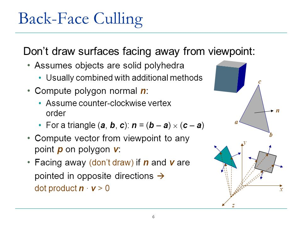 Back-Face Culling Don't draw surfaces facing away from viewpoint: